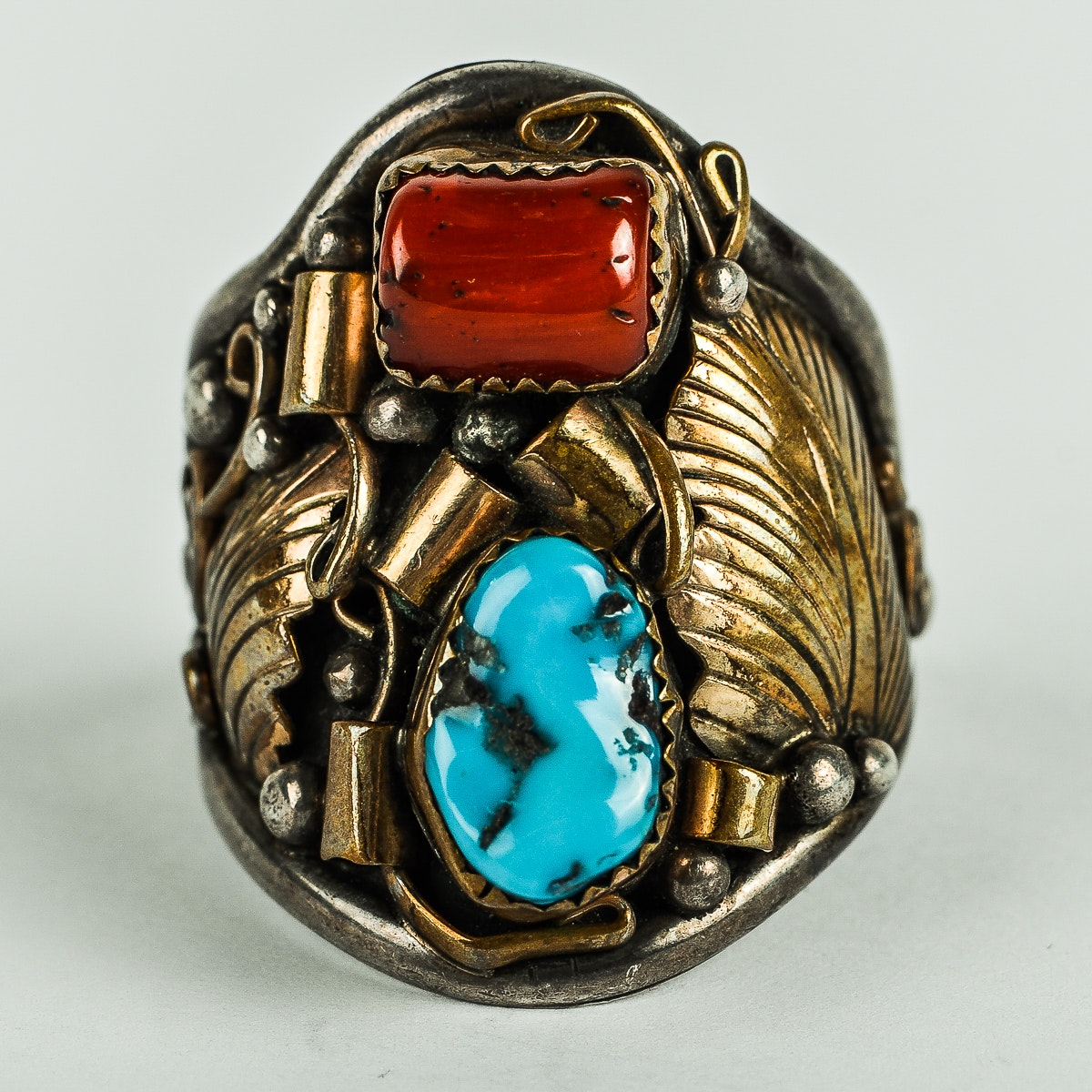 Dorothy Spencer Navajo Sterling Silver, Coral, and Turquoise Ring