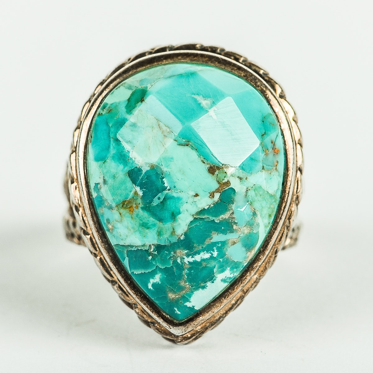 Sterling Silver and Faceted Turquoise Ring