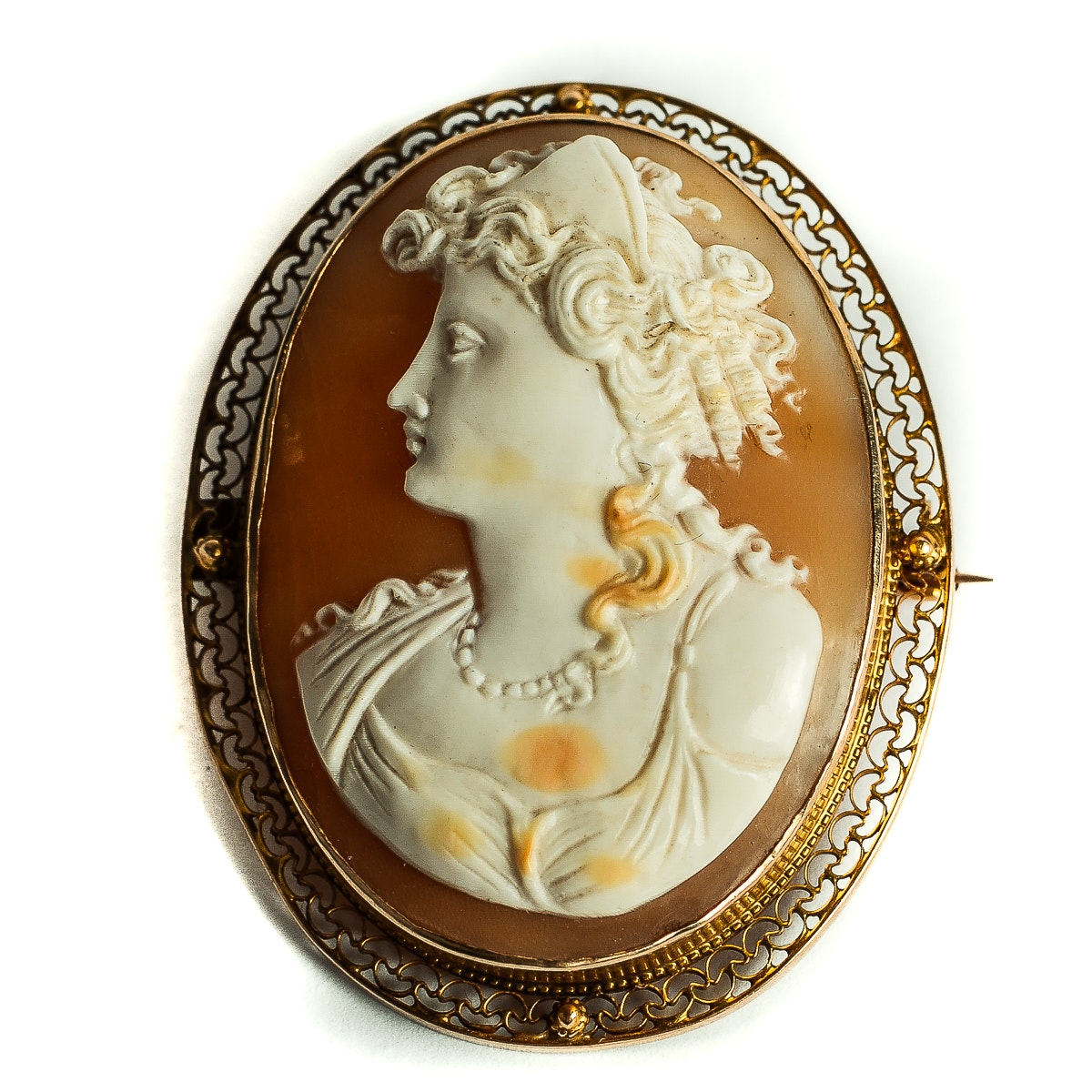 Antique 10K Yellow Gold and Carved Shell Cameo Pendant Brooch