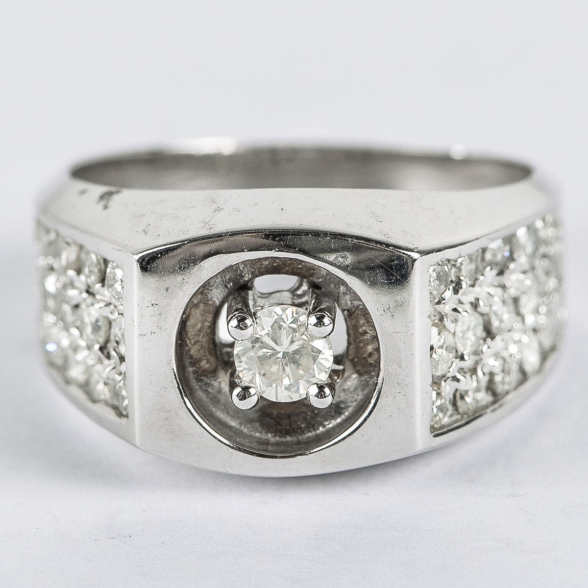 Men's 14K White Gold and 1.70 CTW Diamond Flat Top Ring