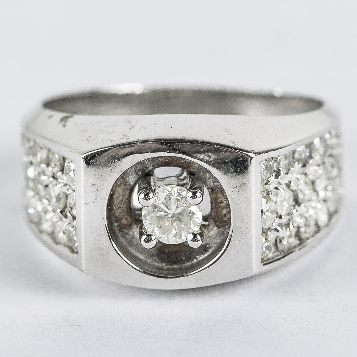 Men's 14K White Gold and 1.70 CTW Diamond Flat Top Ring