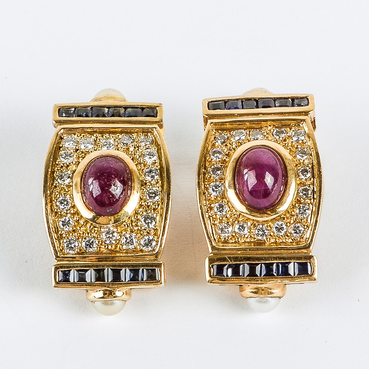 18K Yellow Gold, Ruby, Diamond, Sapphire, and Pearl Clip-On Earrings