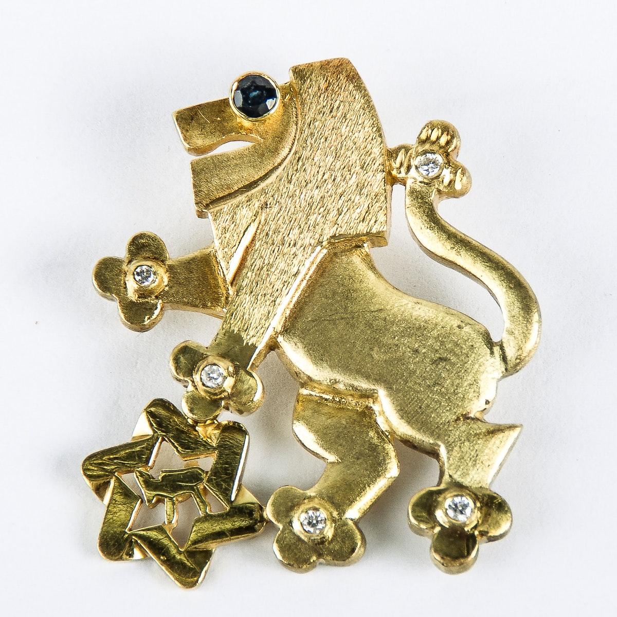 UJA 14K Yellow Gold, Diamond, and Sapphire Lion of Judah Pin