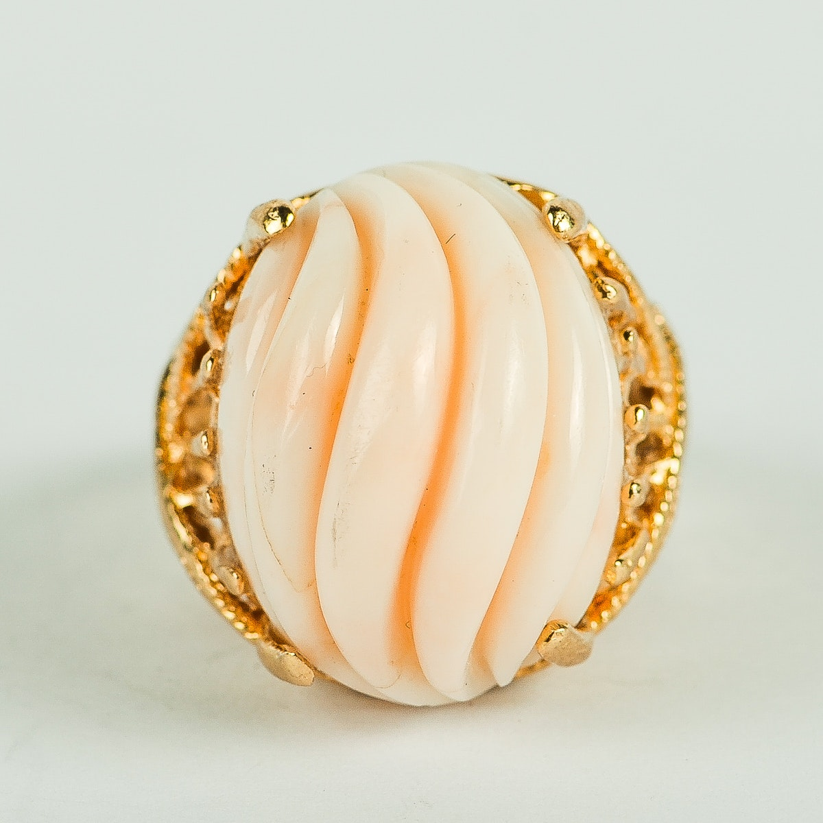 14K Yellow Gold and Carved Coral Statement Ring