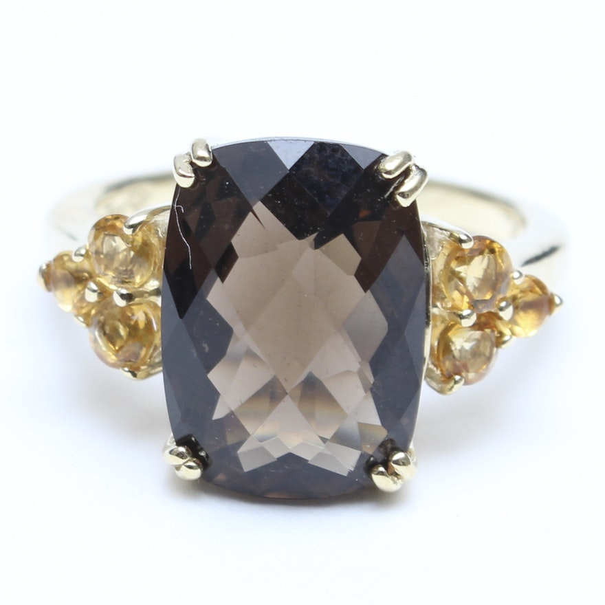 14K Yellow Gold Smoky Quartz And Citrine Ring : EBTH