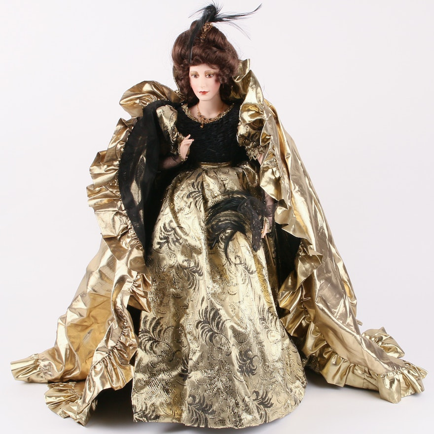 Franklin Heirloom Porcelain Doll In Gold And Black Masquerade Dress