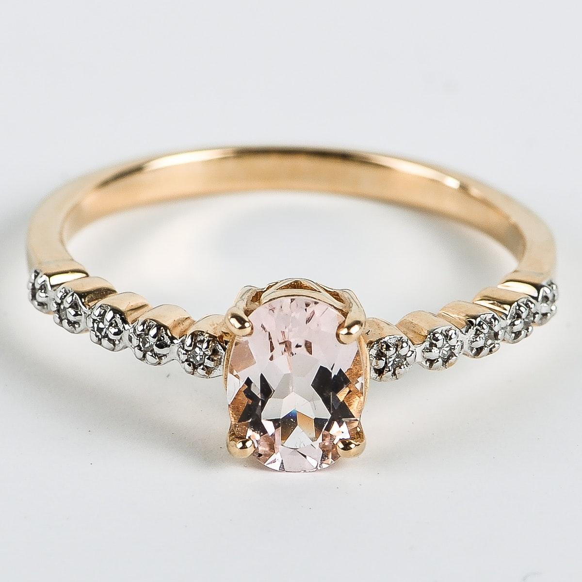14K Yellow Gold, Morganite, and Diamond Ring