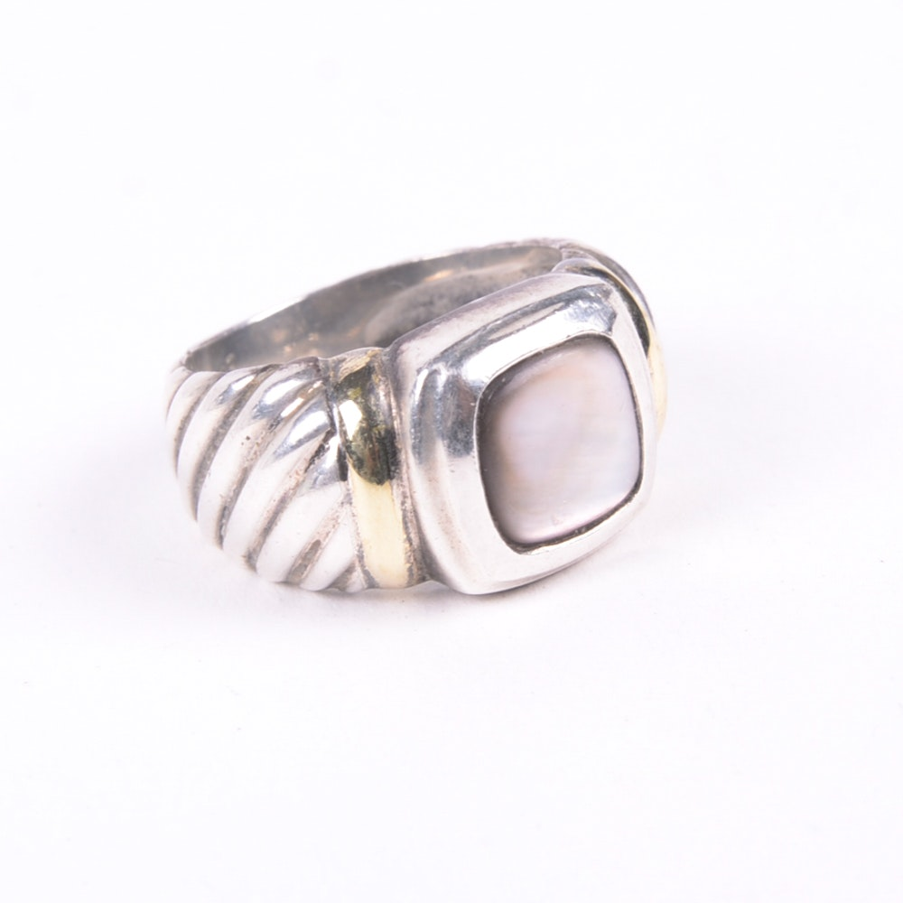 sterling silver 18k gold and prasiolite ring ebth
