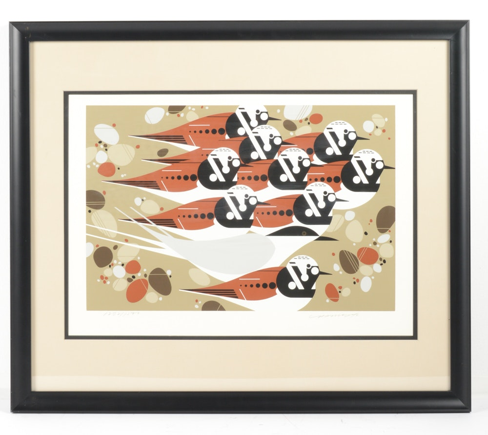 Charley Harper Limited Edition Serigraph Quot Tern Stones And