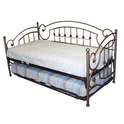 antique metal trundle bed ebth. Black Bedroom Furniture Sets. Home Design Ideas
