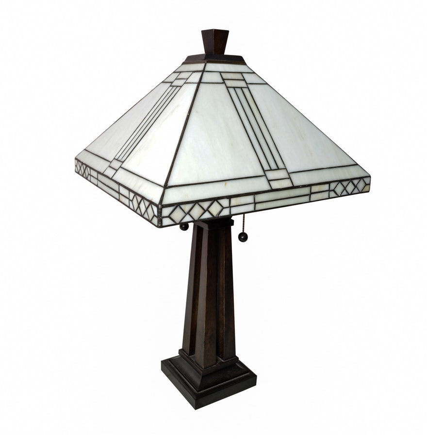 Glass shade table lamp - Column Table Lamp With Tiffany Style Glass Shade