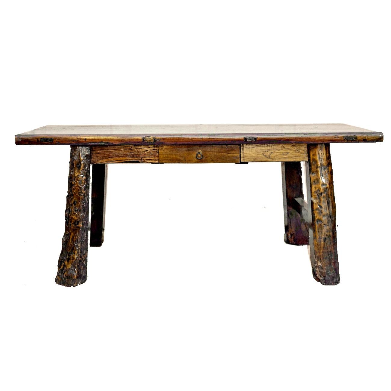 Vintage Rustic Style Elm Kitchen Table