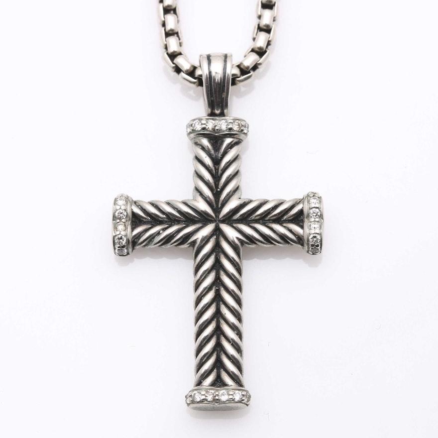 Sterling silver diamond david yurman chevron cross necklace ebth sterling silver diamond david yurman chevron cross necklace aloadofball Images