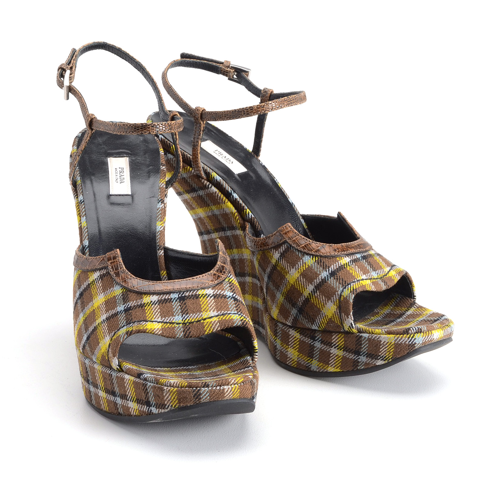 buy cheap low shipping discount lowest price Prada Lizard-Trimmed Plaid Wedges 2014 new online hot sale cheap online lqLeVi