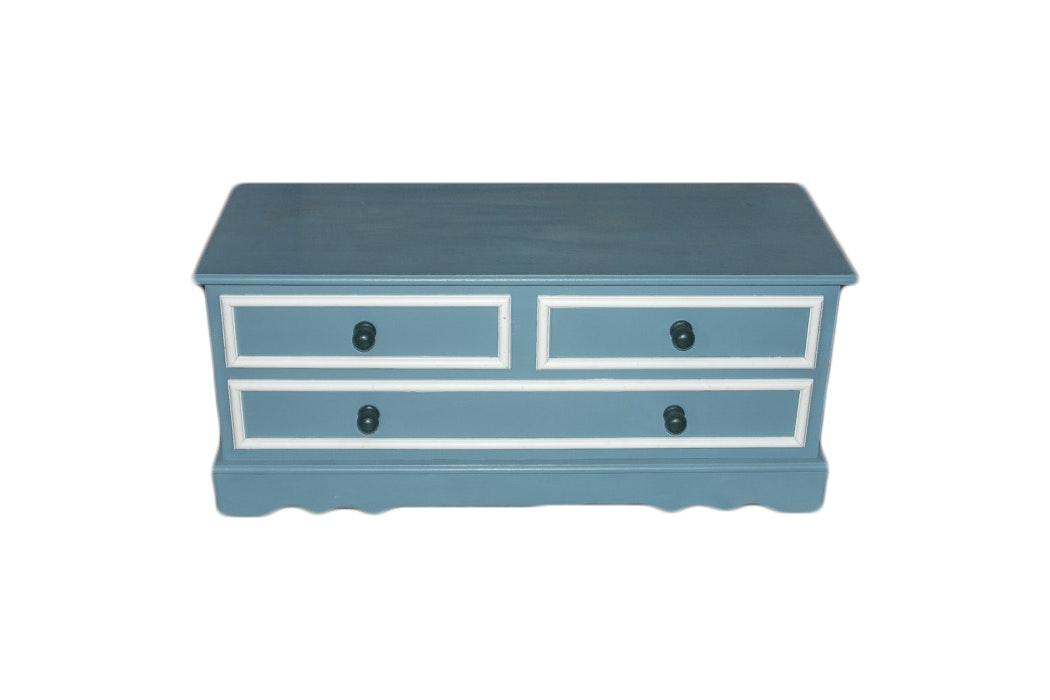 Blue And White False Front Cedar Chest
