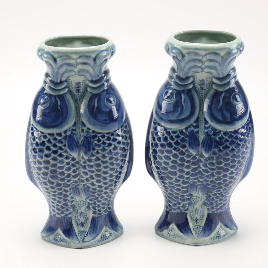 Chinese Blue Decorative New Year Vases Ebth