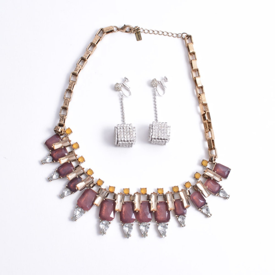 Baublebar Statement Necklace and Vintage Rhinestone Cube Earrings
