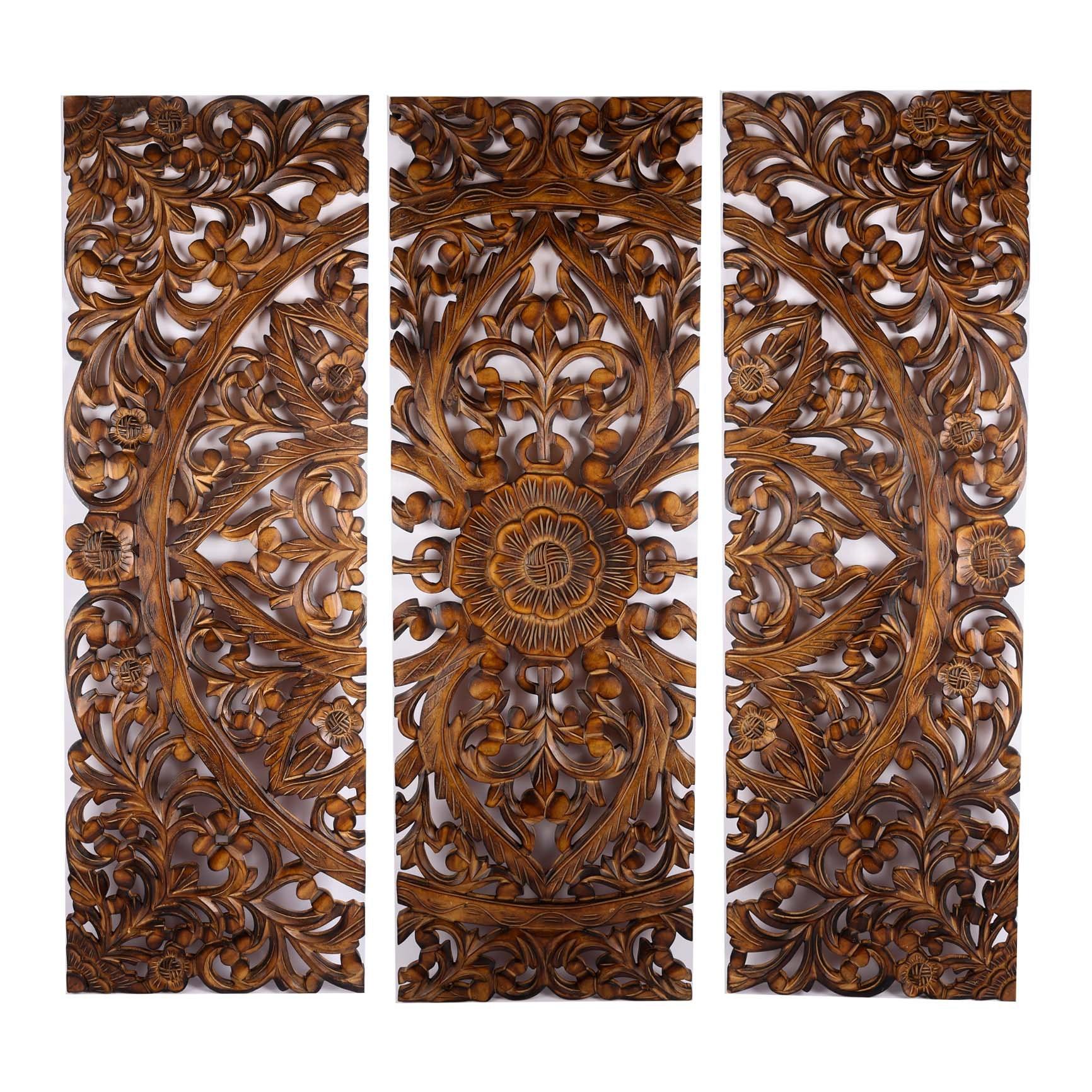 Carved Teak Triptych Panels