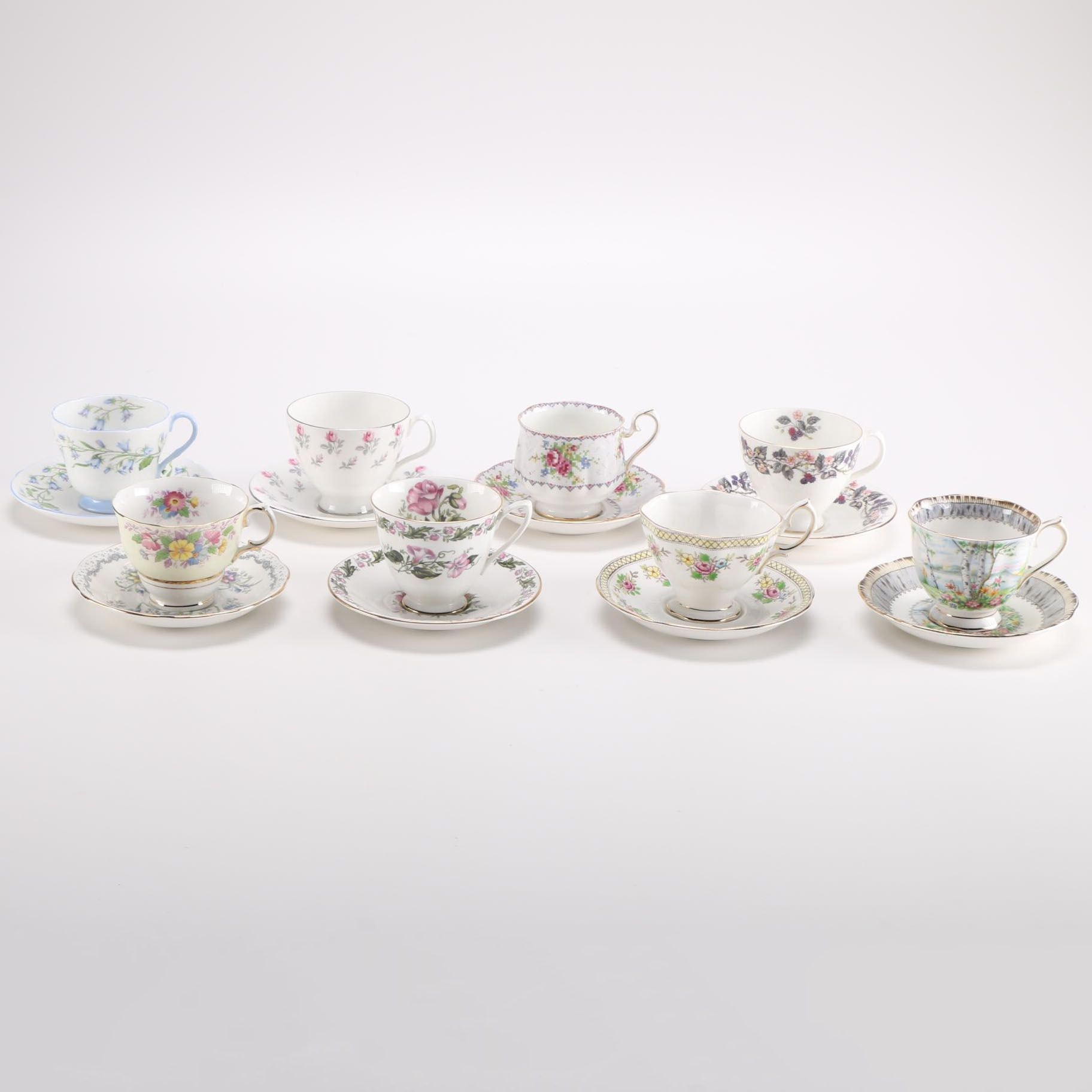 Assorted English Fine China Teacup and Saucer Sets