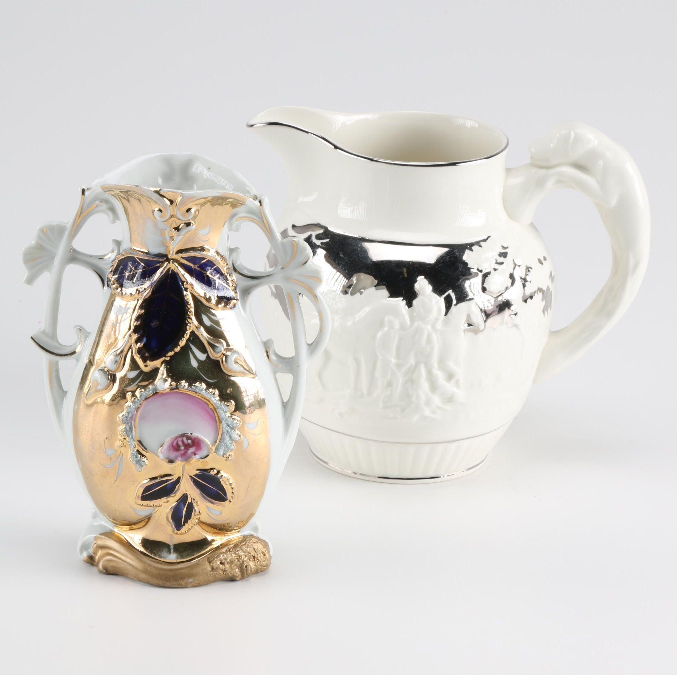 Wedgwood Silver Luster Jug and German Vase