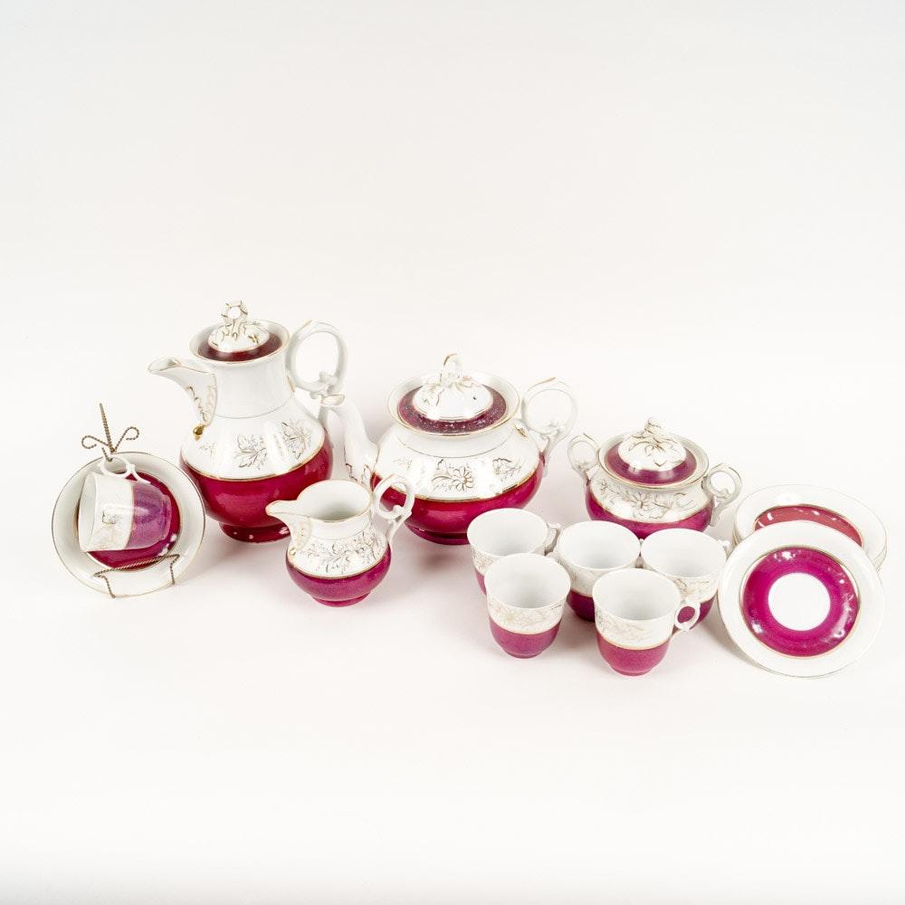 Antique Cranberry Porcelain Tea Set