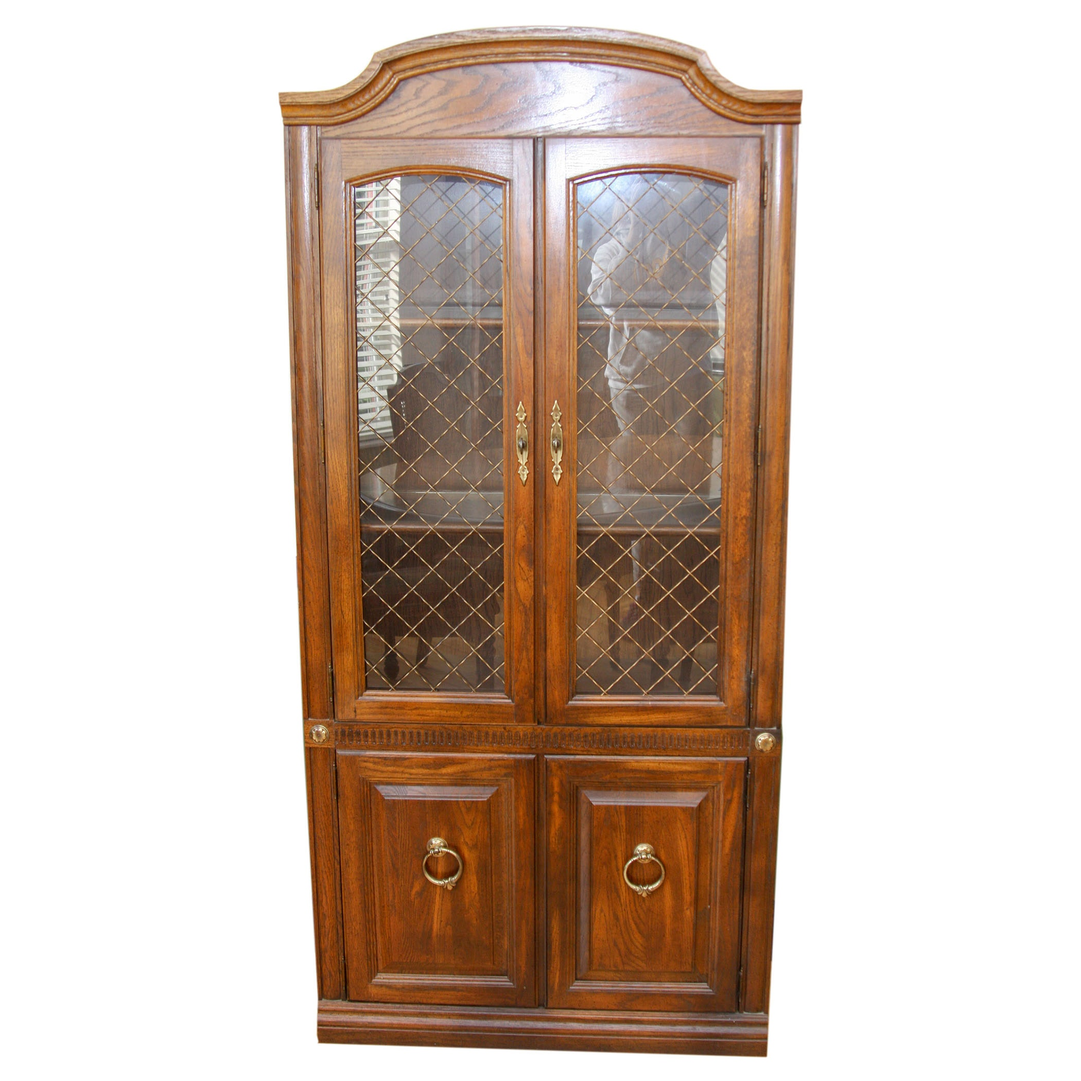 Vintage Aged Oak Finish China Cabinet With Wire Mesh Door Inserts