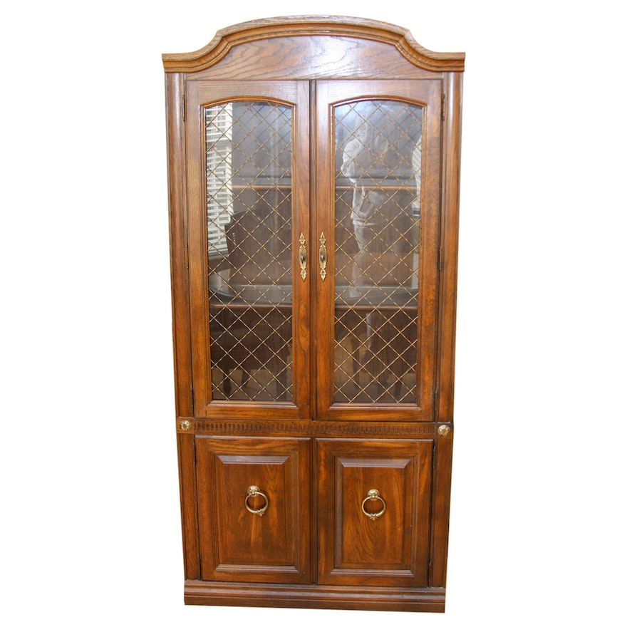 Vintage Aged Oak Finish China Cabinet With Wire Mesh Door Inserts Ebth