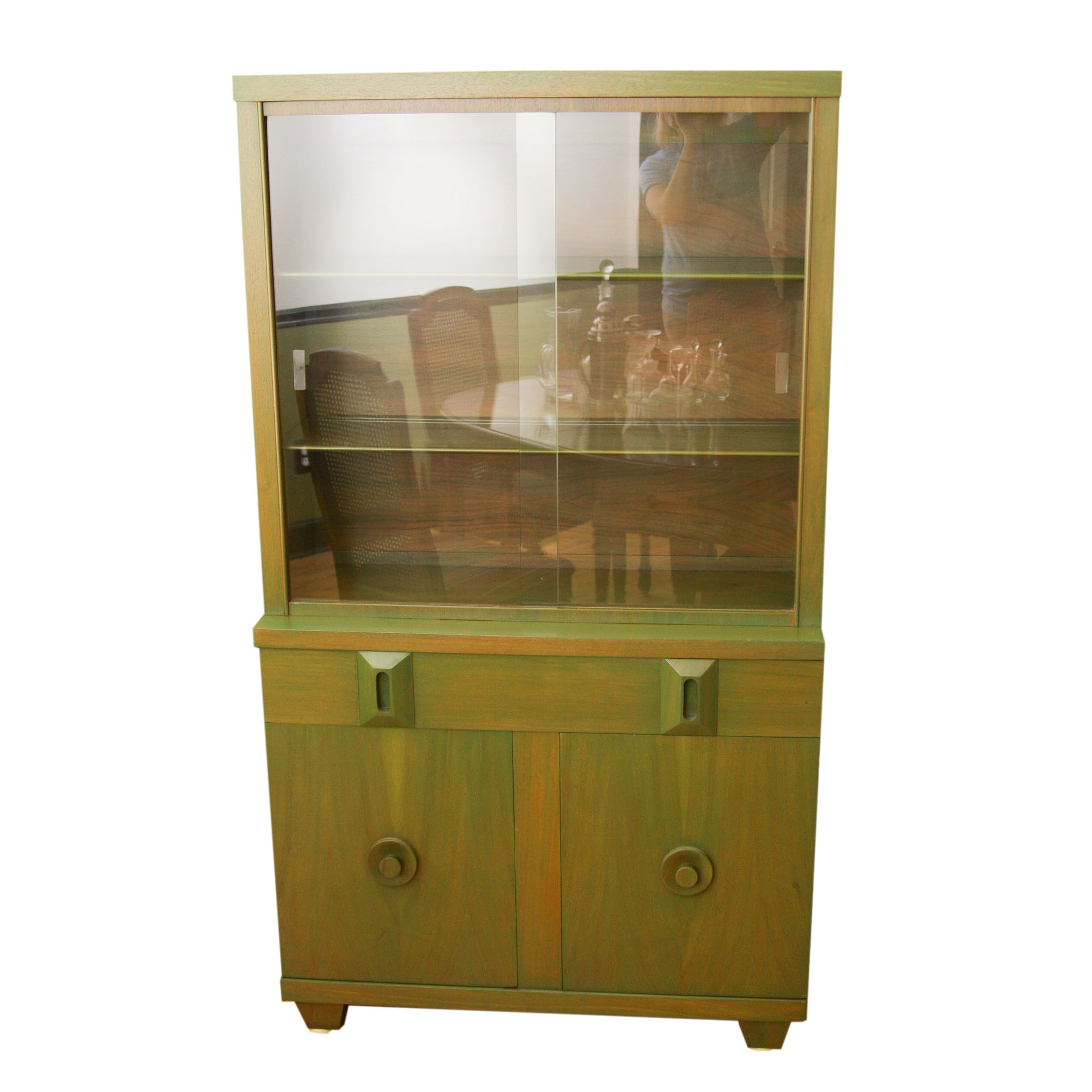 Green-Washed Wood Cupboard With Sliding Glass Doors