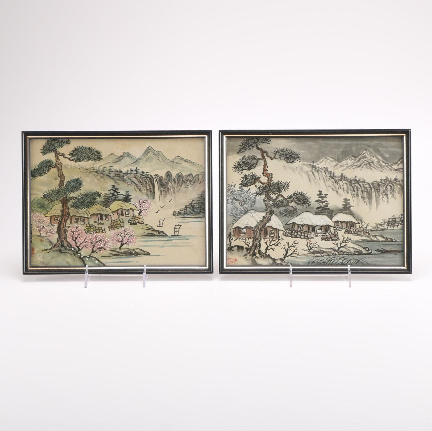 Pair of Framed East Asian Gouache and Ink Drawings of Landscapes