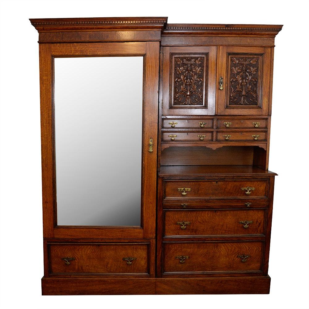 Maple & Co. Jacobean-Style Armoire & Dresser Combination