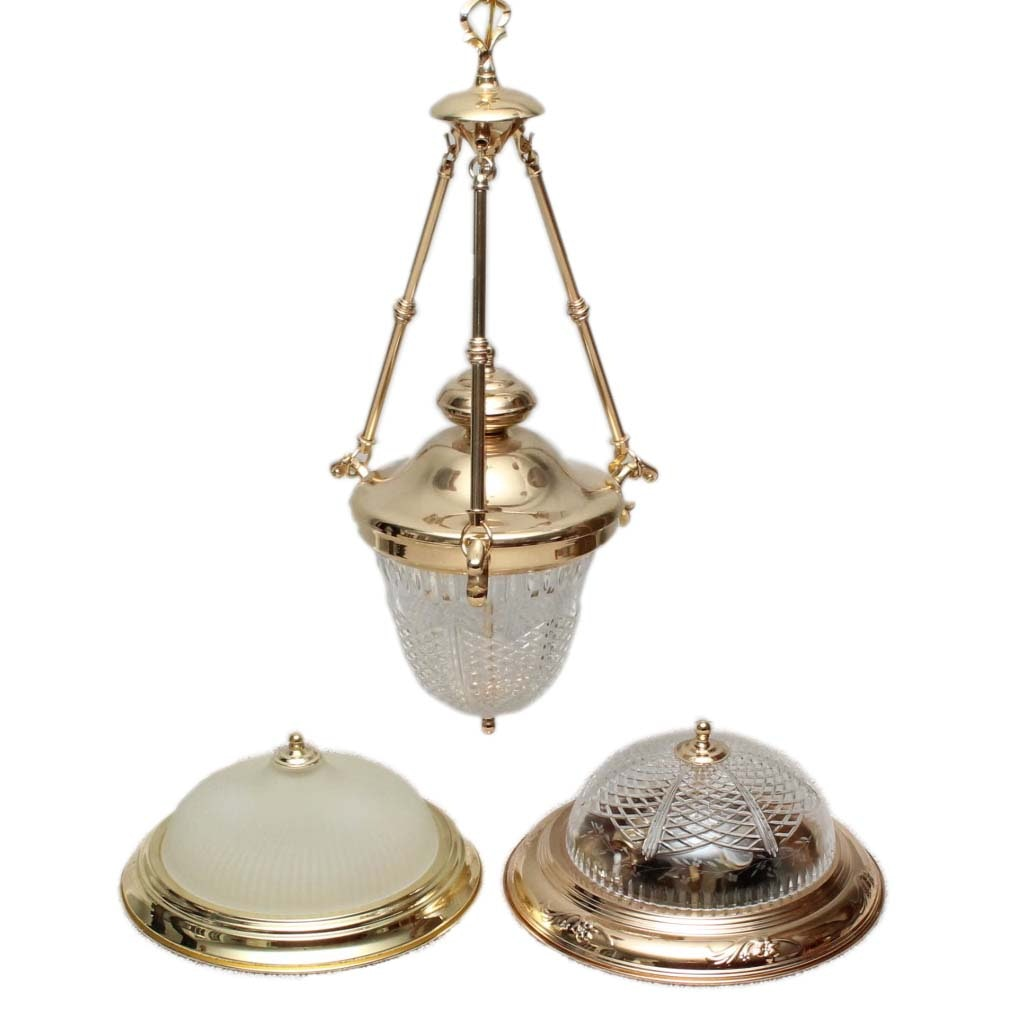 Assortment of Polished Brass Light Fixtures