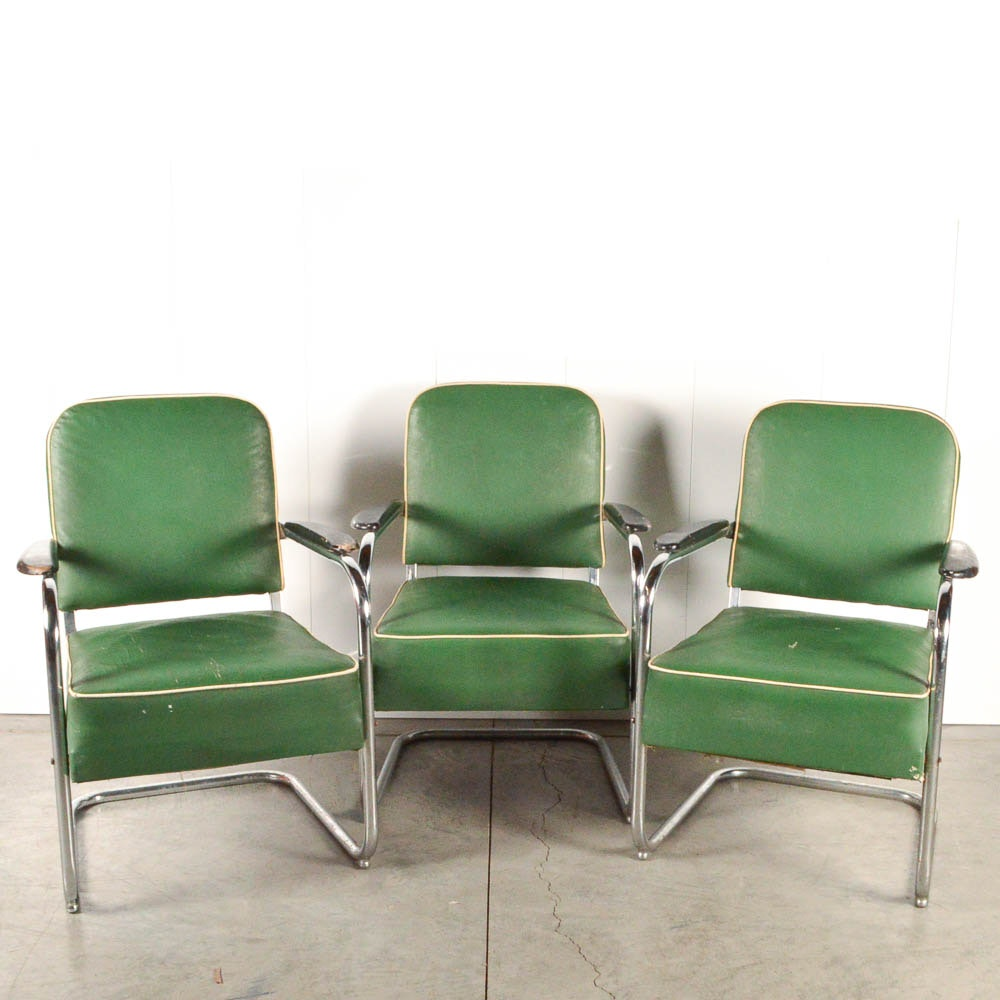Three Vintage Vinyl and Chrome Barber Waiting Room Chairs - waiting room chairs