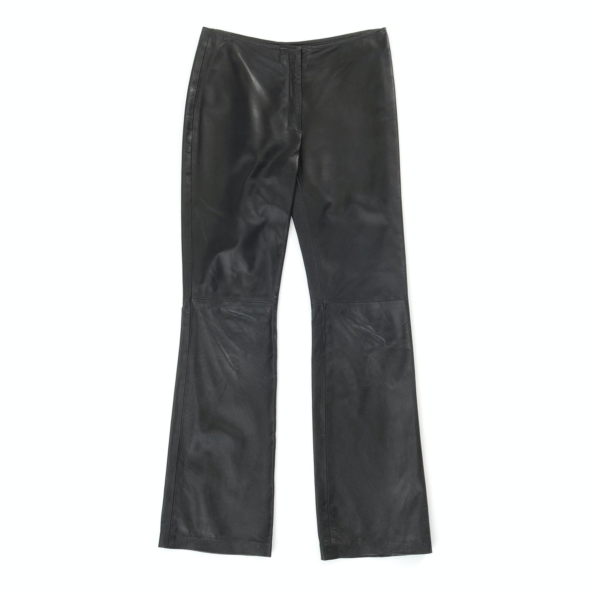 Jill Stuart Black Lambskin Leather Pants
