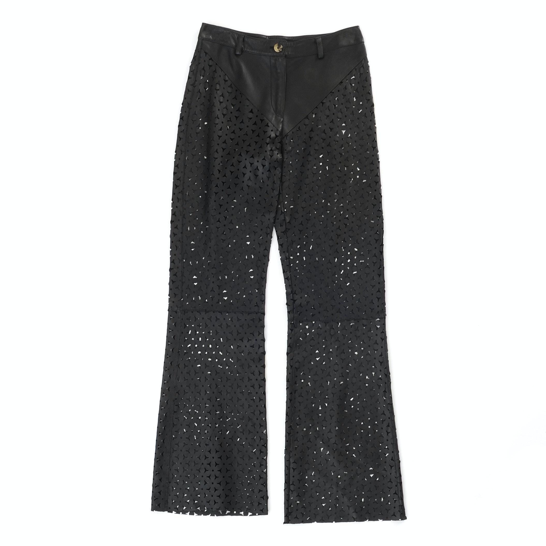 Black Laser Cut Lambskin Leather Pants