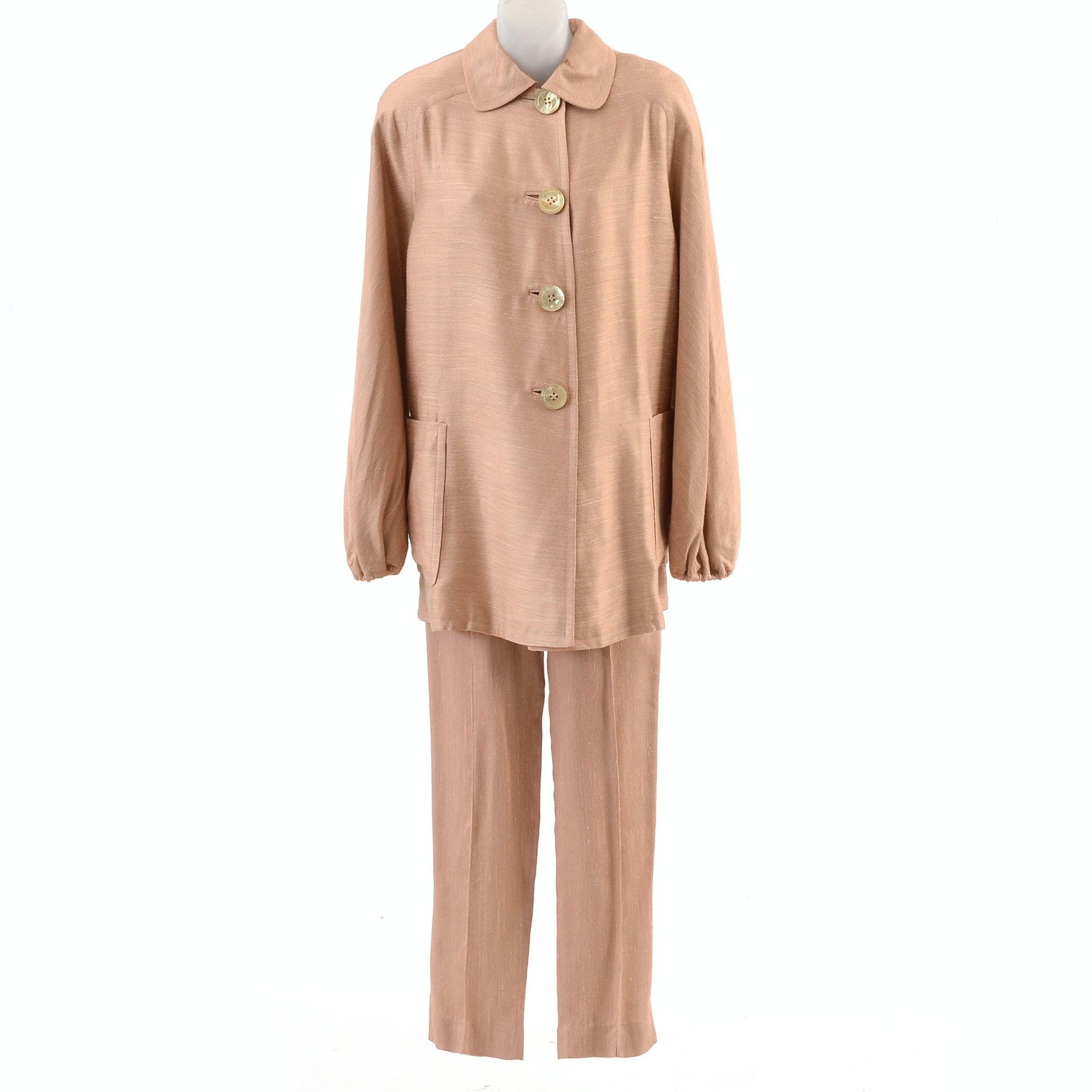1980s Gianfranco Ferre Studio Blush Rayon Blend Pant Suit