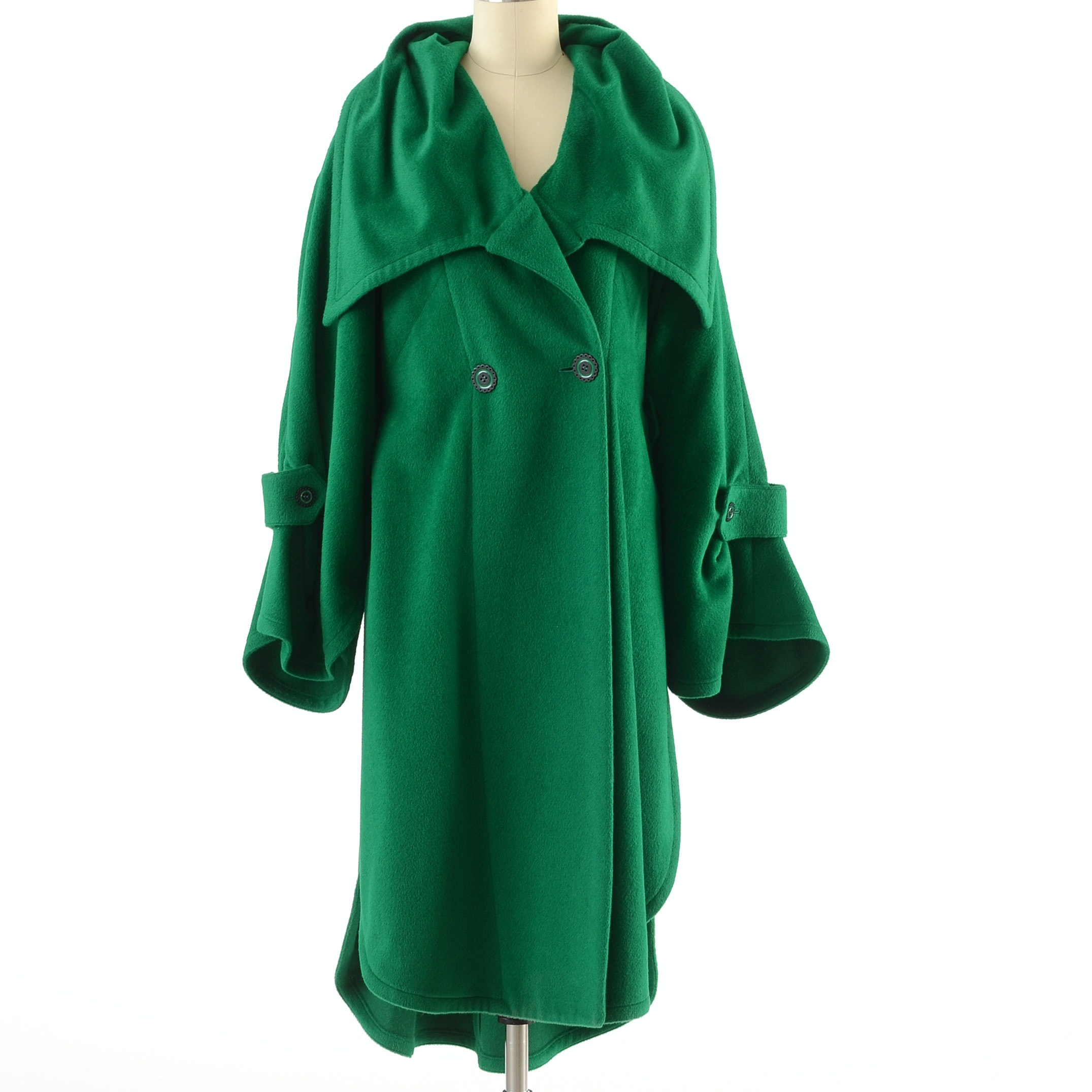 Karl Lagerfeld Emerald Green Angora and Lambswool Blend Panel Coat