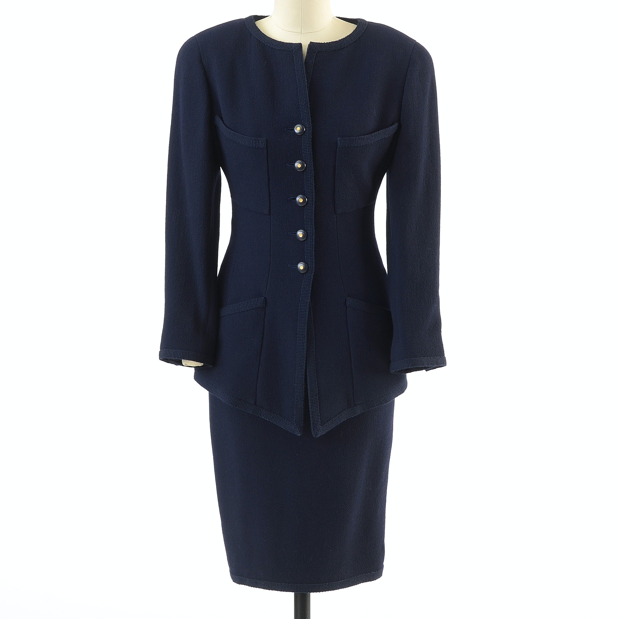Chanel Boutique Navy Blue Wool and Silk CC Logo Button Front Suit
