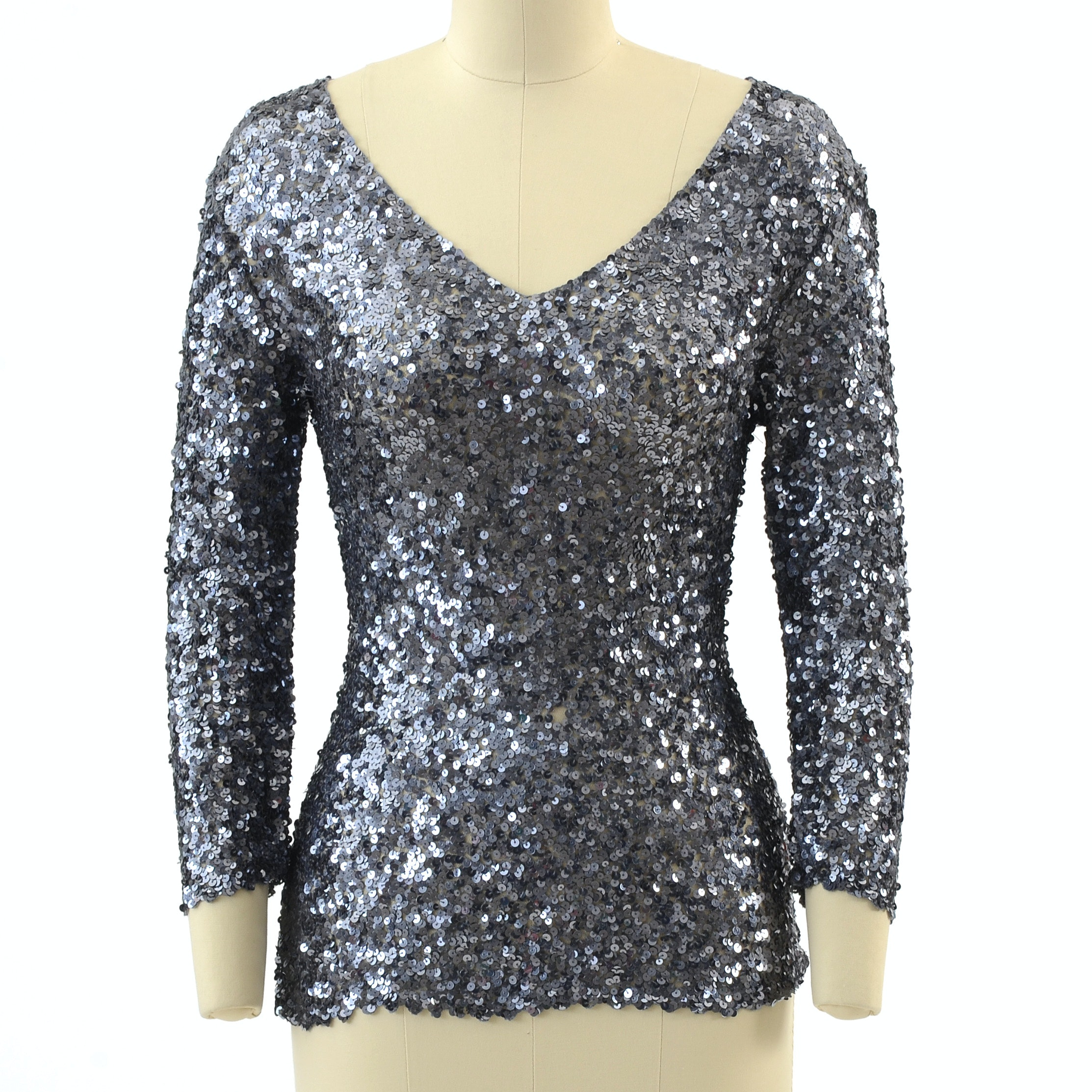 Roberta Freyman Gunmetal Grey Sequined Mesh Blouse