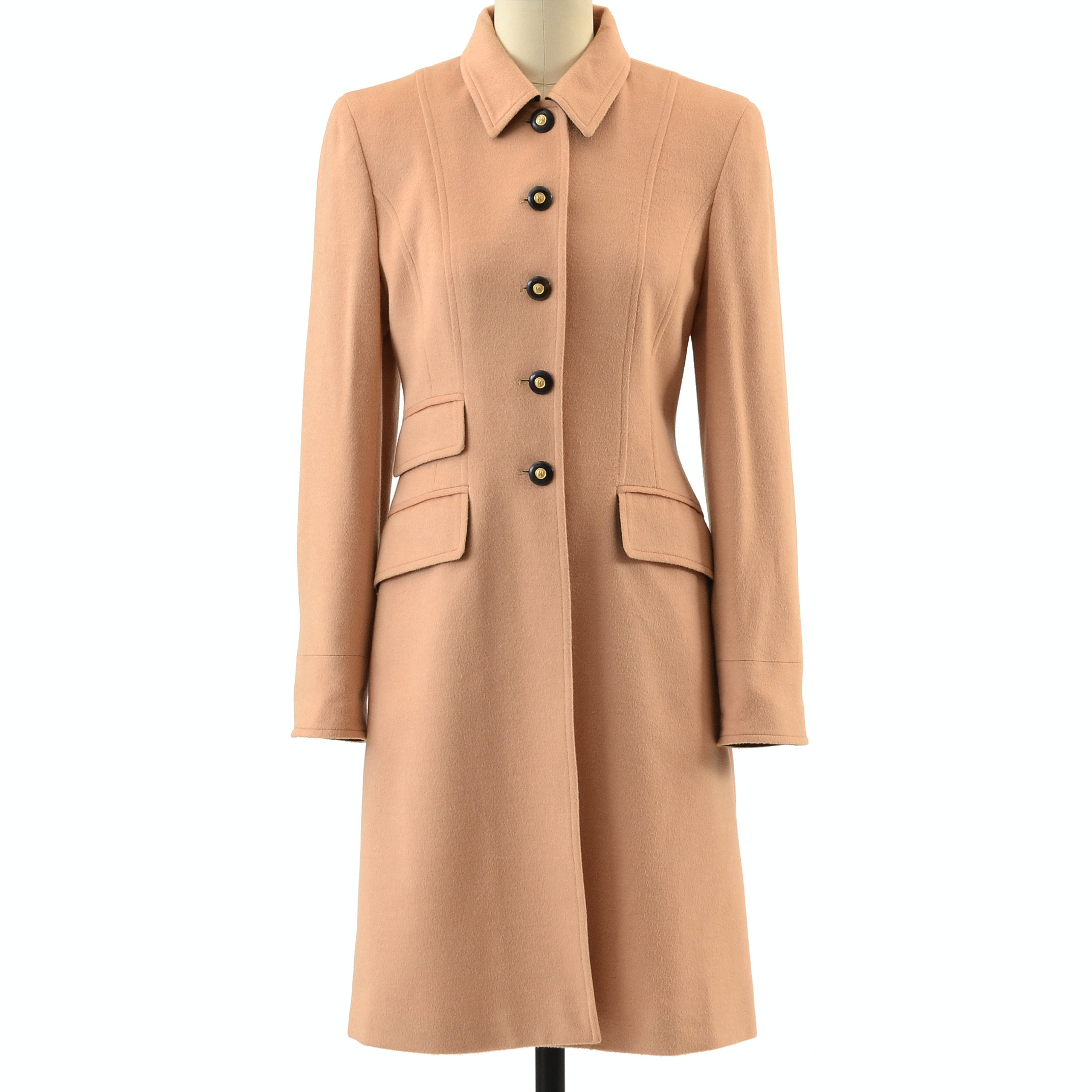 Wathne Cashmere and Angora Wool Blend Button Front Coat