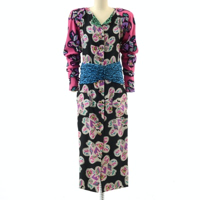 1980s Fendi Silk Abstract Print Button Front Dress
