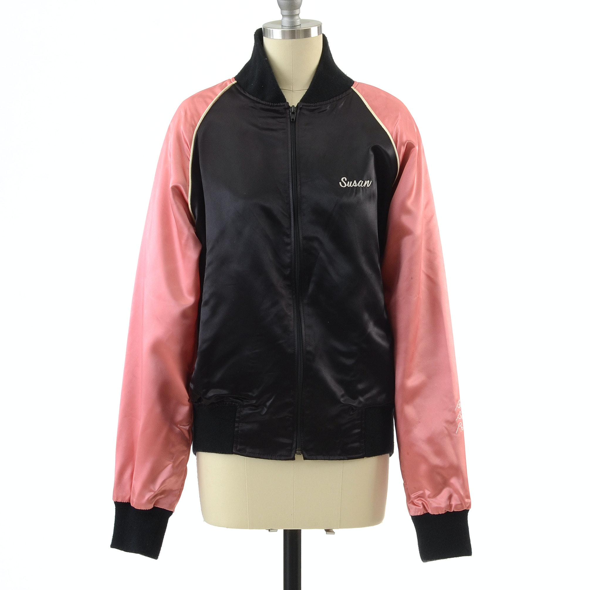 "Susan's ""Win, Lose Or Draw"" Pink and Black Satin Jacket Given To Her From Burt Reynolds with Embroidered Personal Incsription, Circa 1988"
