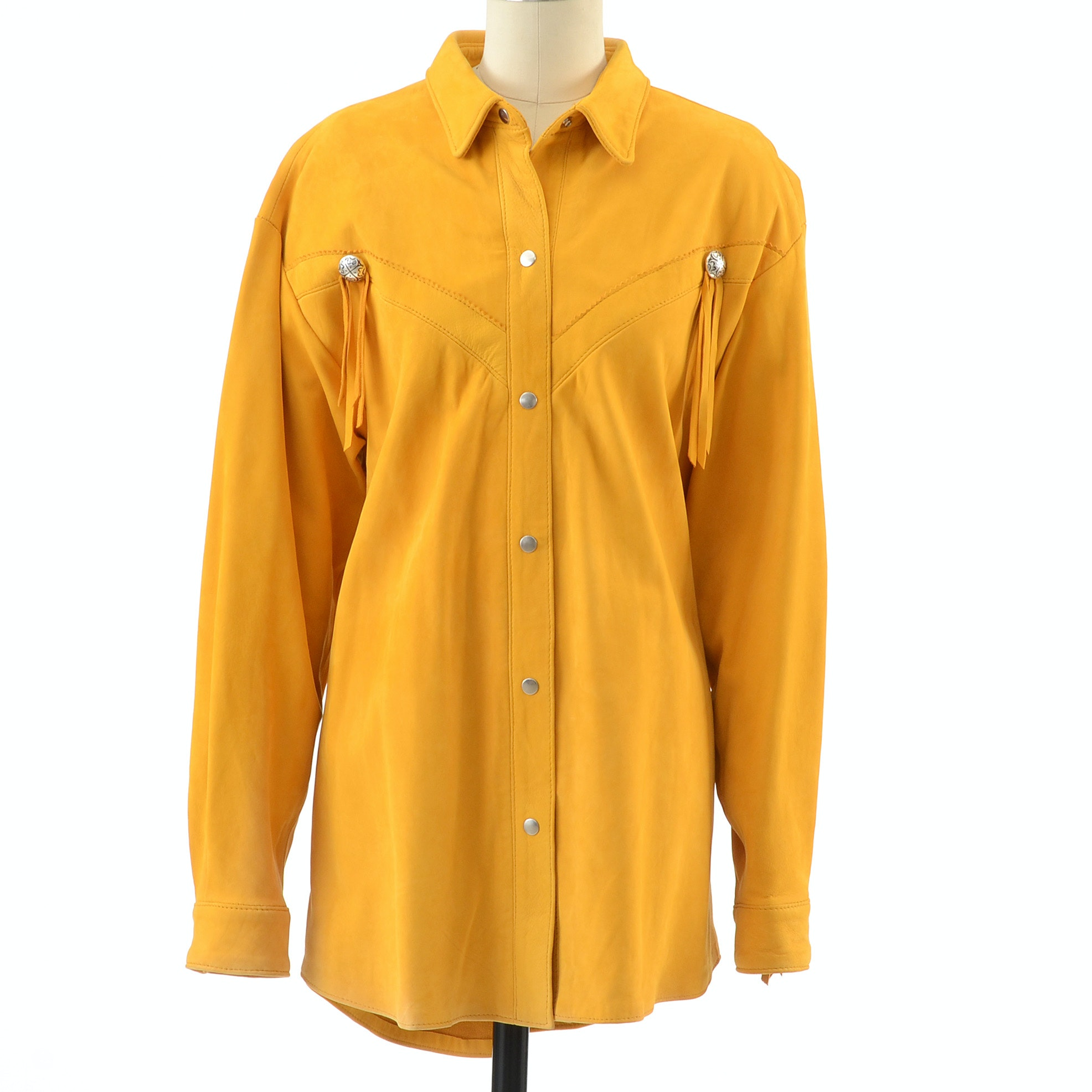 Positano Pelle Saffron Yellow Suede Leather Western Dress Snap Front Shirt Jacket