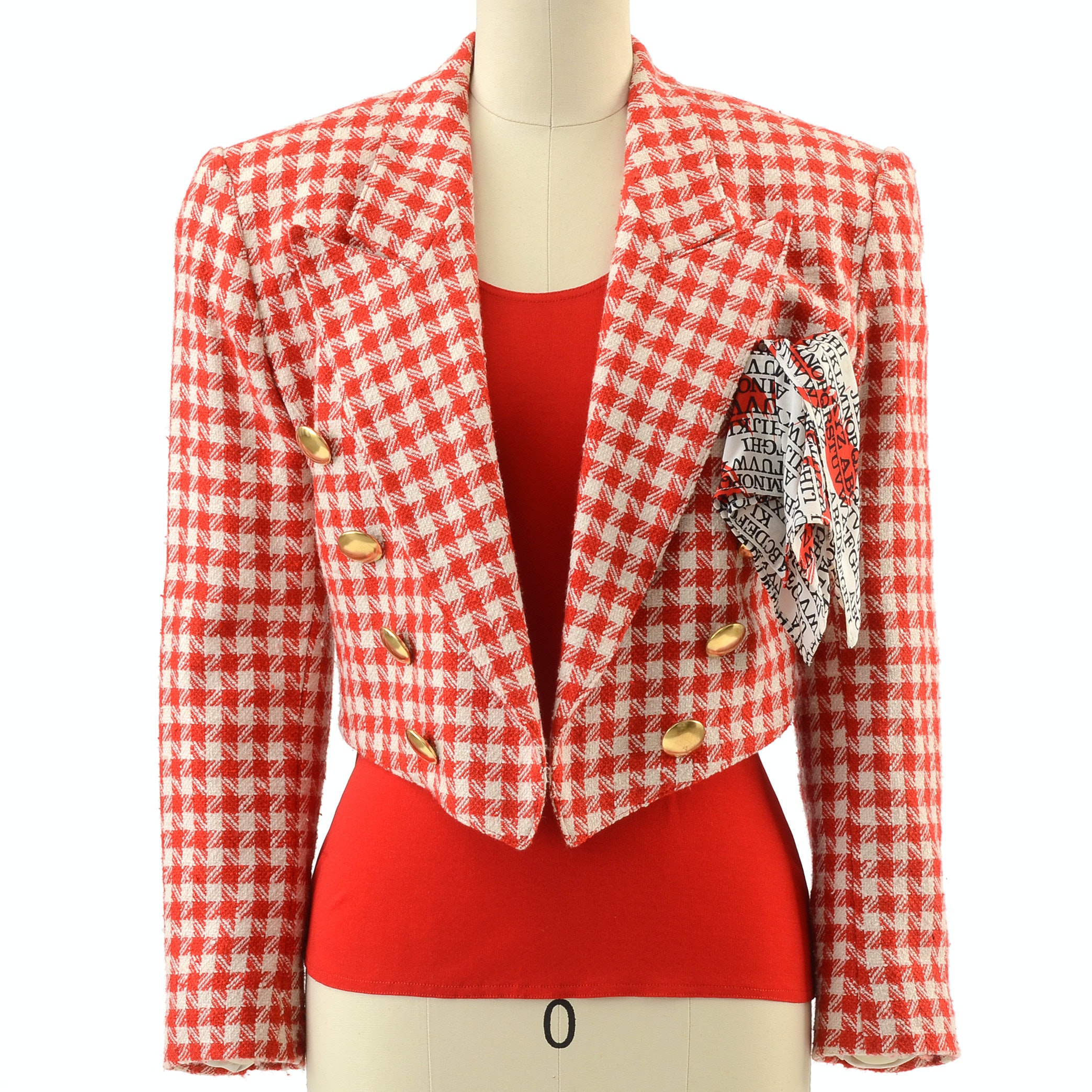 Escada by Margaretha Ley Red and Ivory Silk/Wool Blend Checkered Crop Jacket with Julio Red Tank