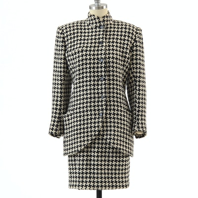 1980s Vintage Ungaro Parallele of Paris Black and Ivory Wool Knit Suit Susan Wore When She Met President Bush and First Lady Barbara Bush
