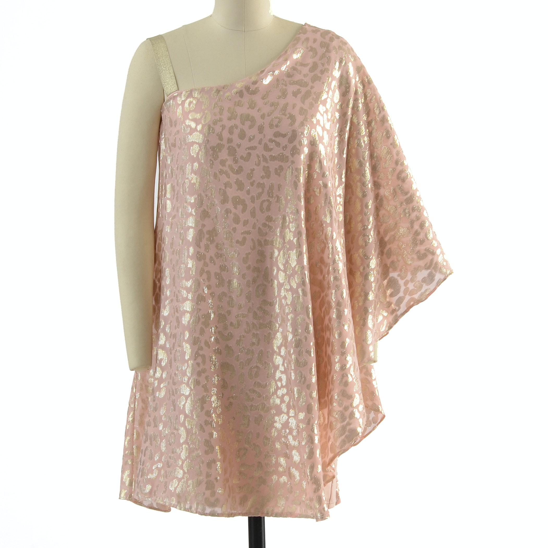 ERIN by Erin Fetherston One-Shoulder Cheetah Print Mini Dress in Blush and Gold Metallic