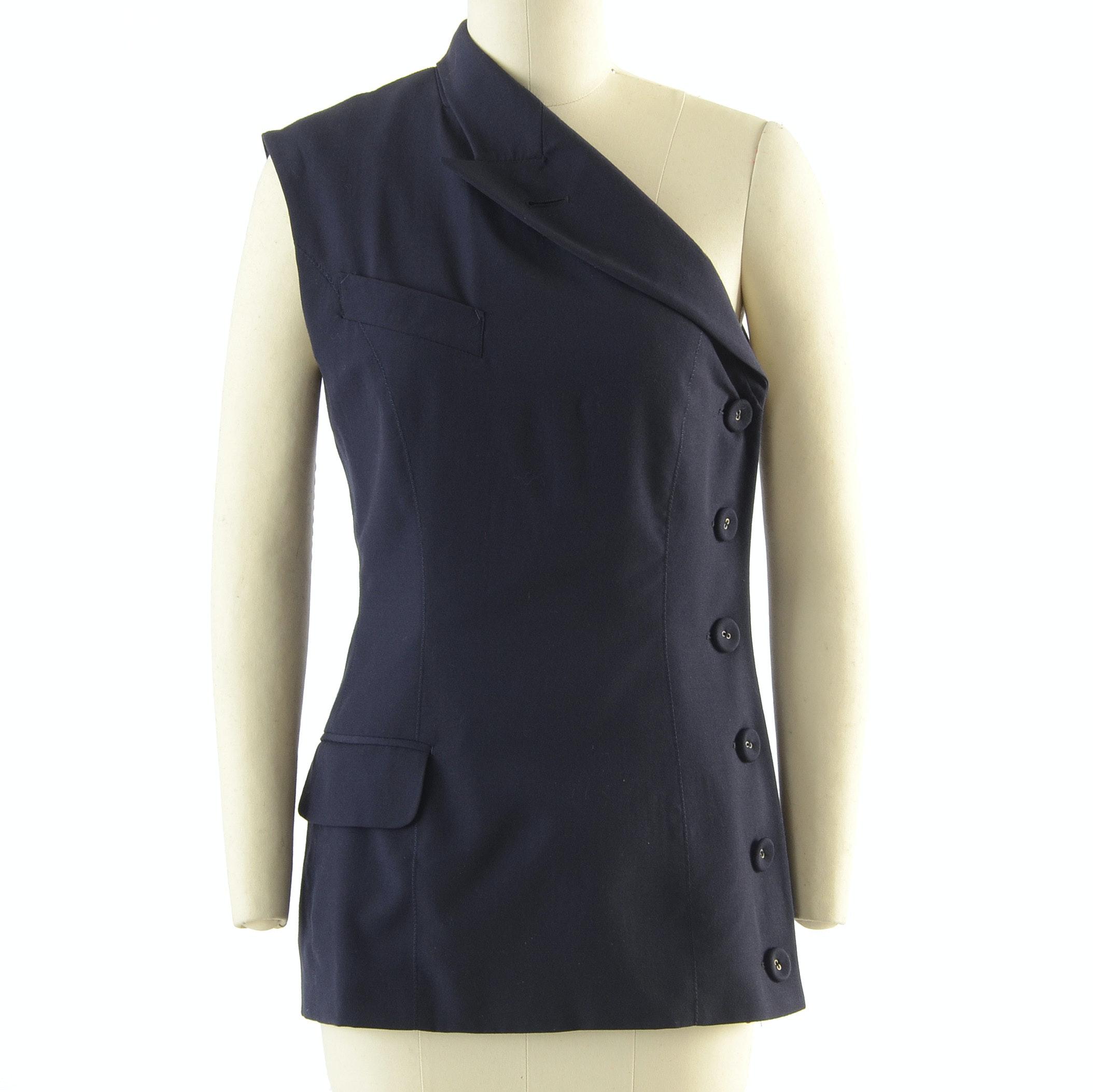 Jean Paul Gaultier Femme Navy Blue Gabardine Wool One-Shoulder Sleeveless Blazer with Side Buttons