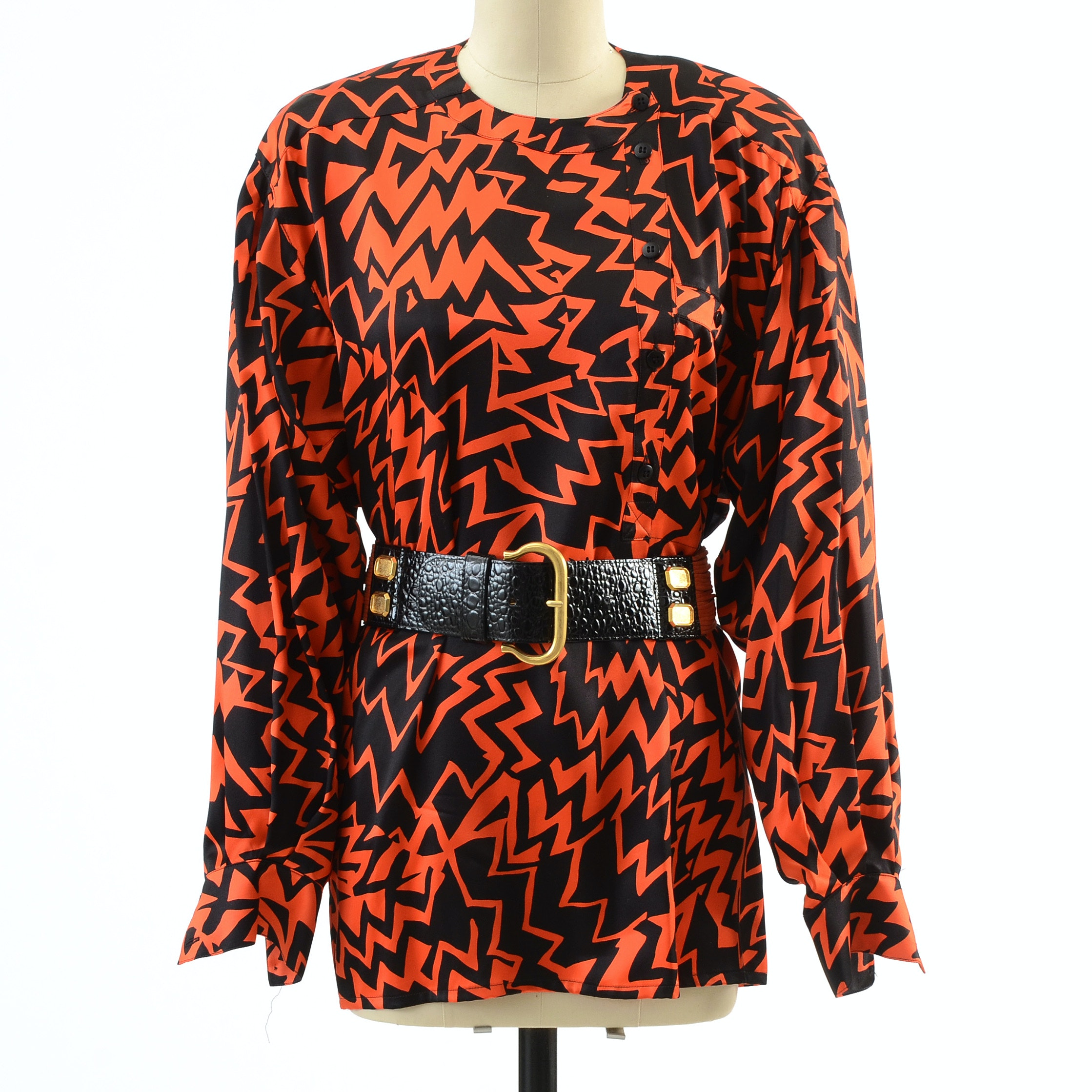 1980s Vintage Escada by Margaretha Ley Orange and Black Soie Silk Bold Print Collarless Blouse with Orange Suede and Black Embossed Alligator Leather Belt