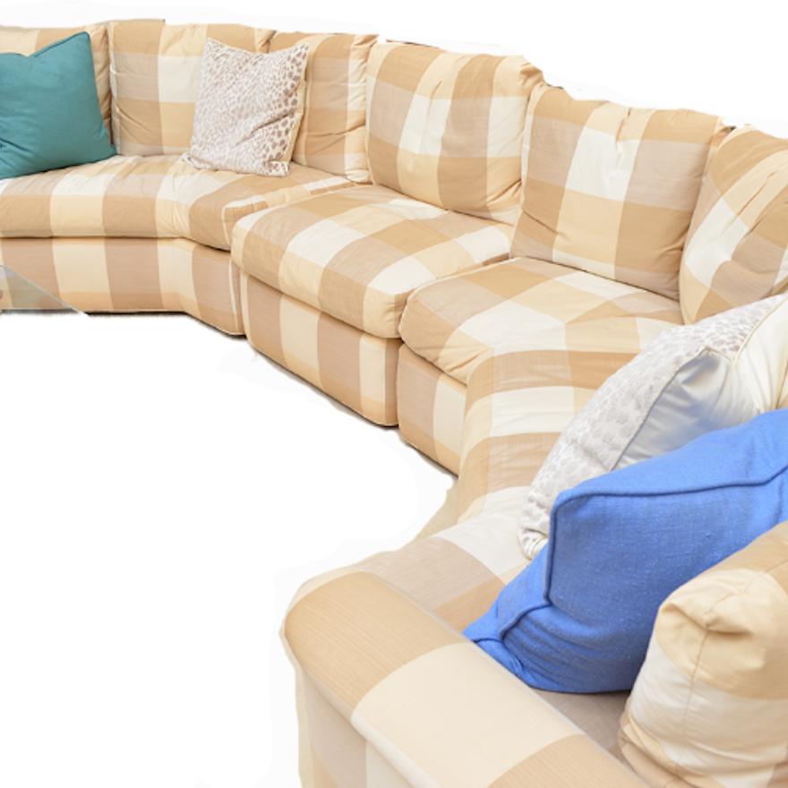 Baker Furniture Three-Piece Plaid Sectional Sofa : EBTH