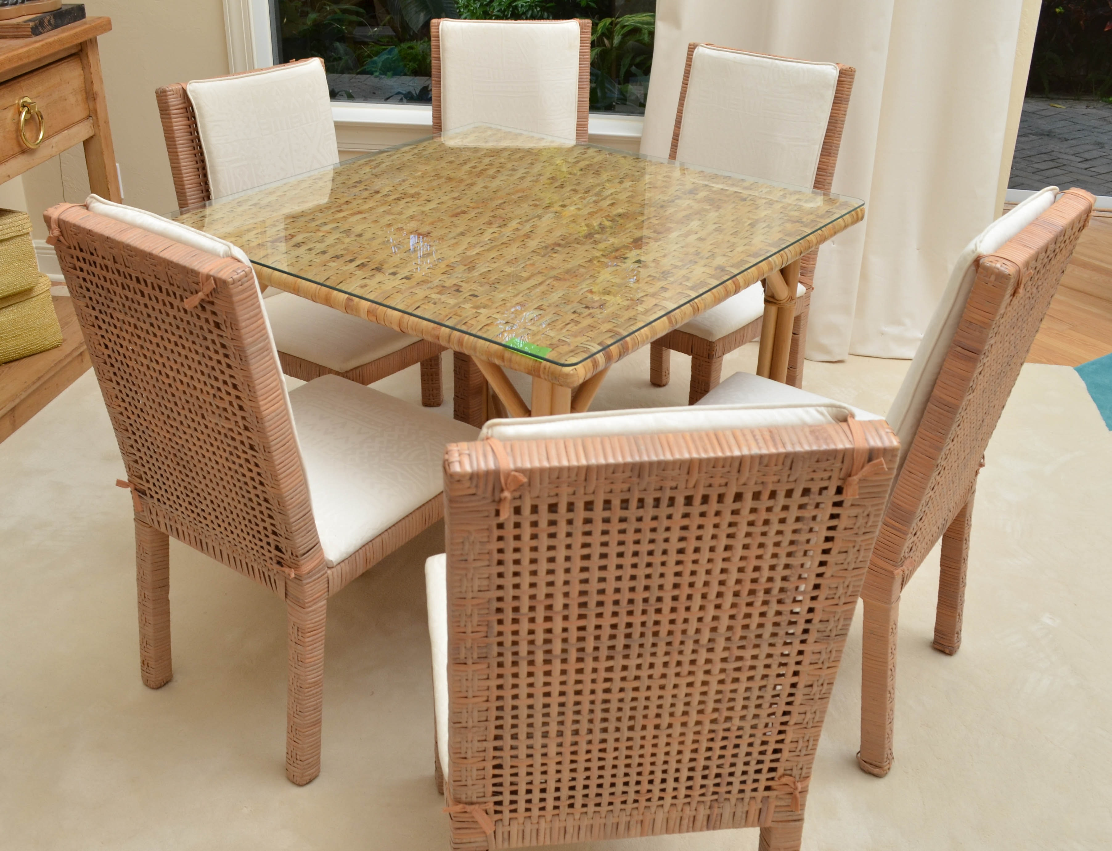 Glass Top Wicker Dining Table With Six Chairs EBTH : DSC6656jpgixlibrb 11 from www.ebth.com size 880 x 906 jpeg 177kB