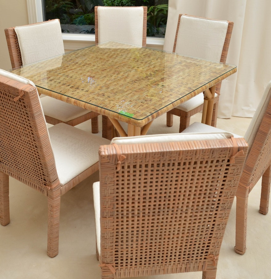 Glass Top Wicker Dining Table With Six Chairs EBTH